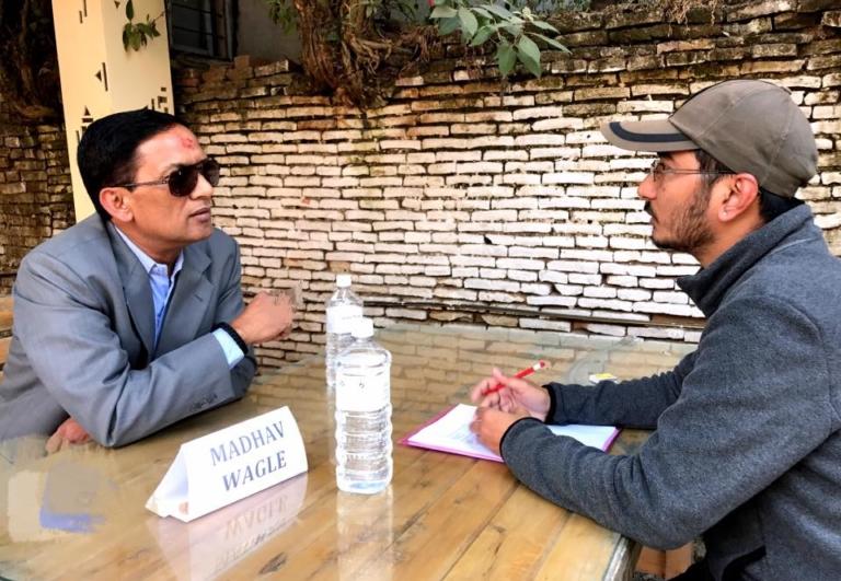 A participant pitches his film idea to producer Madav Wagle. Photo: Ekadeshma Film Festival