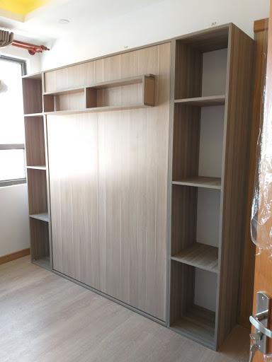 Giường kết hợp với tủ thông minh