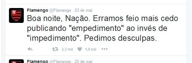 Twitter oficial do Flamengo erra ao se explicar