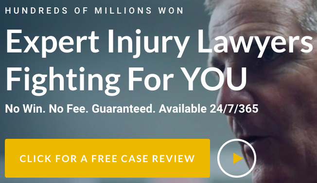 """Ad titled """"Expert Injury Lawyers Fighting For You"""" with a button labelled """"Click For a Free Case Review"""""""