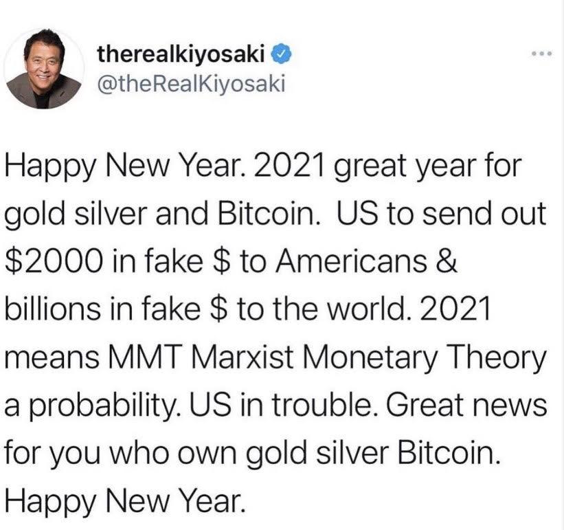 tweet de Kiyosaki auteur de Père riche, père pauvre