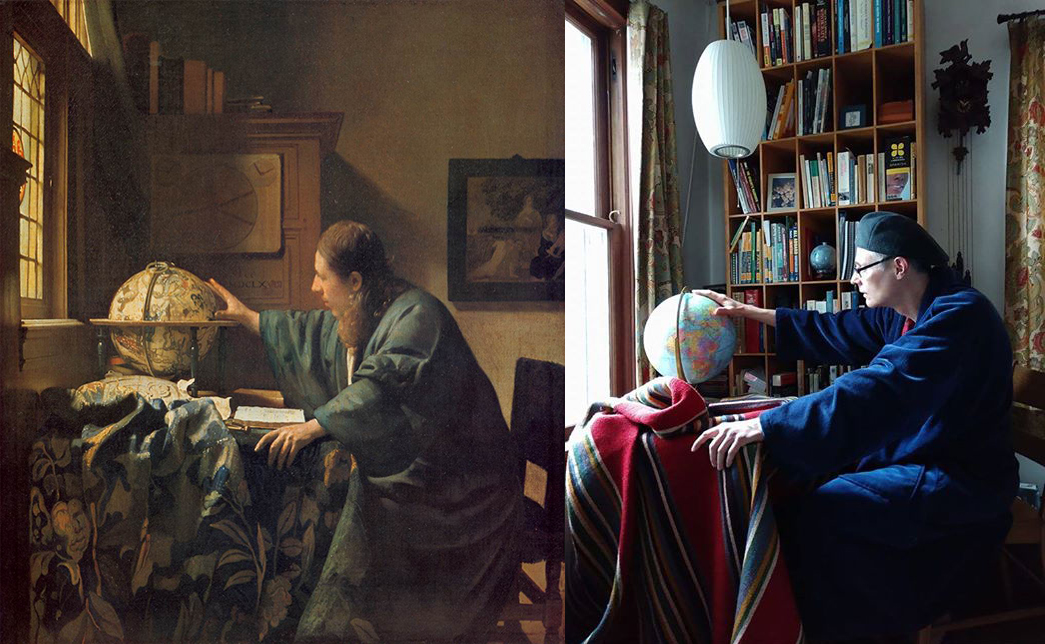 Left: Vermeer's astronomer sits at a table by a window, his right hand reaching for a globe. Right: A person in blue fleece and a beret also sits at a table by a window, reaching for a globe.