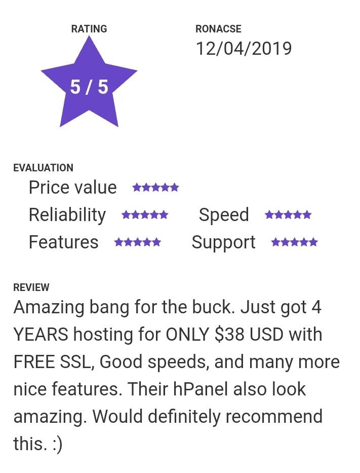hostinger being amazing hosting with less price