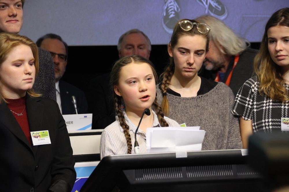 16 歲的瑞典女孩桑柏格(Greta Thunberg)「週五為未來而戰」(Fridays for Future)。
