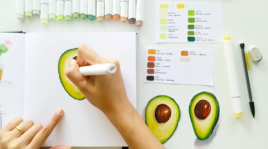 drawn avocado