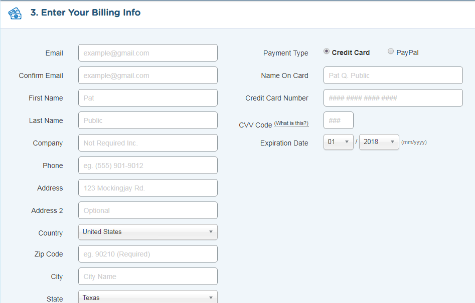 Enter your payment information to know how to start a blog
