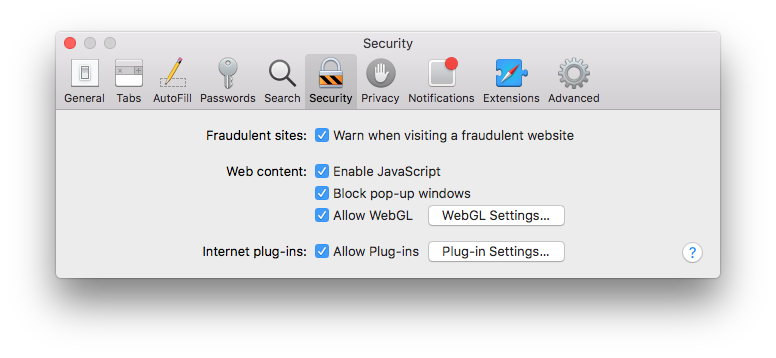 Safari Security window