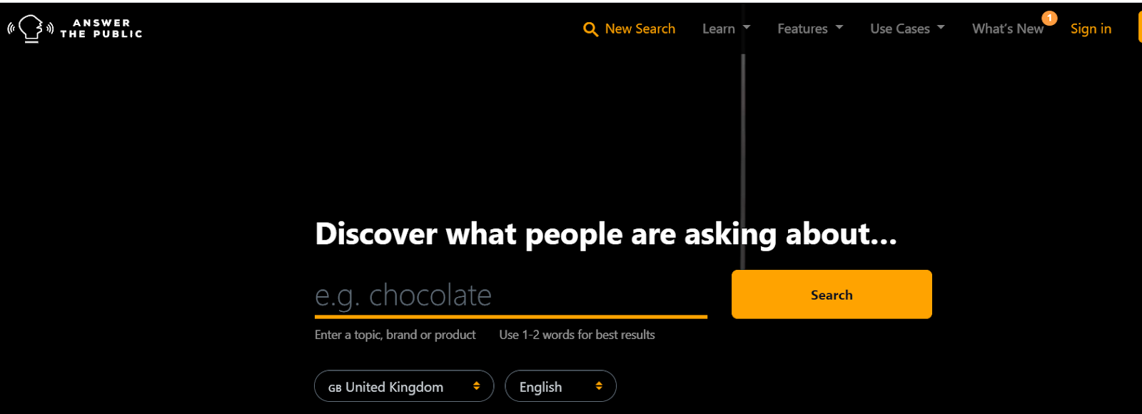 Screenshot of Answer the Public - A Keywords Search Engine