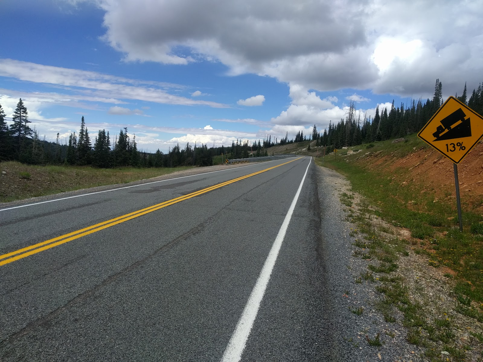 Bike ride up Hwy 143 - Steep grade sign at end.