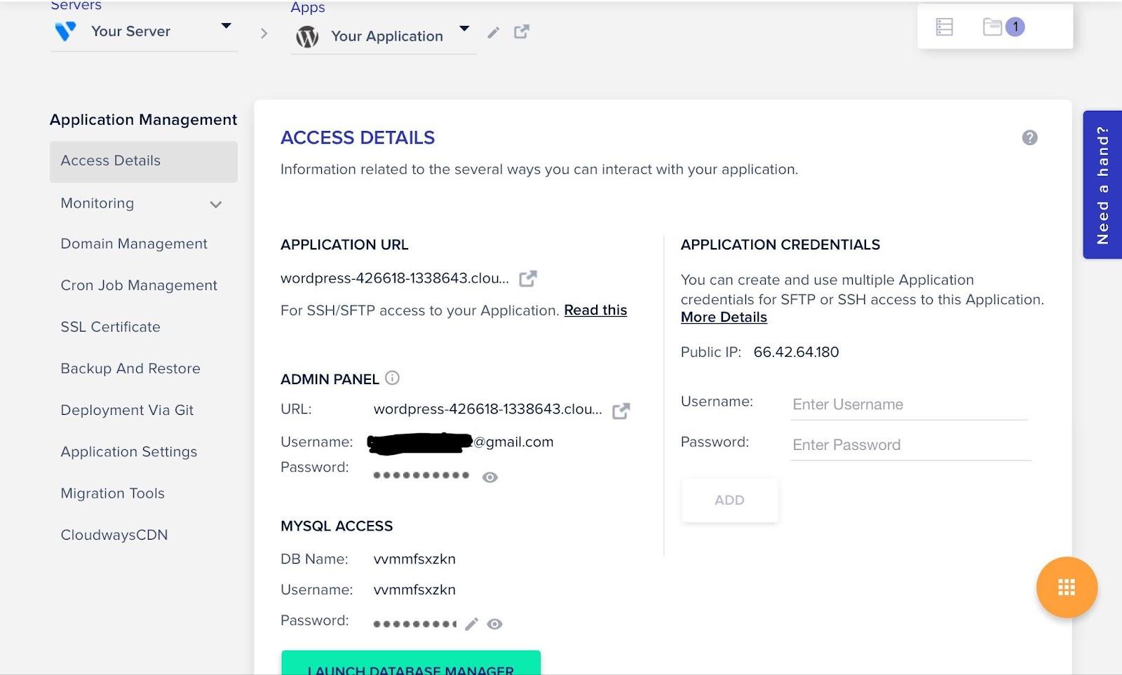 cloudways access details dashboard
