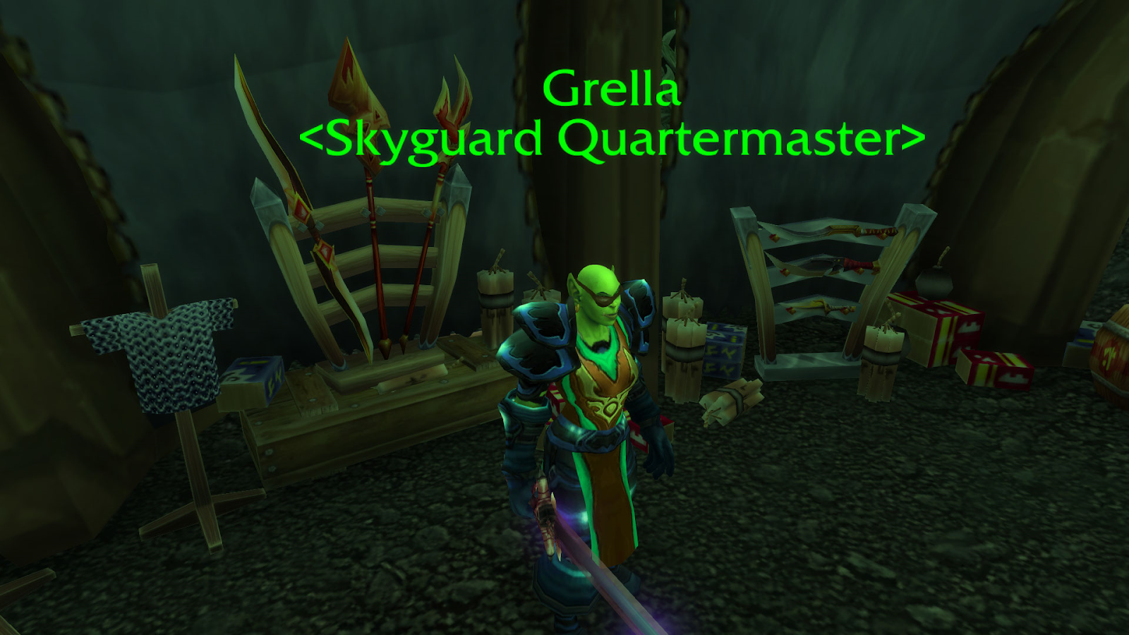 Grella is the Quartermaster that will sell the Blue Riding Nether Ray once you are Exalted.