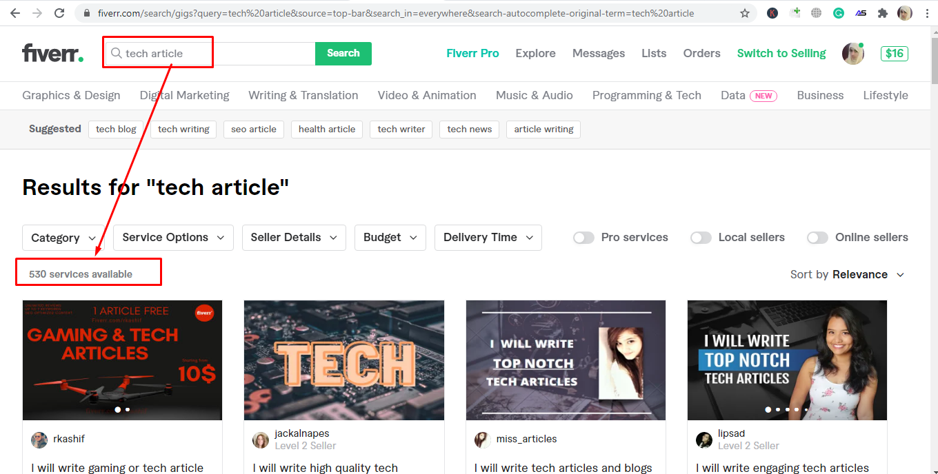 Screenshot of niched-down article writing result on Fiverr - Freelancing on Fiverr