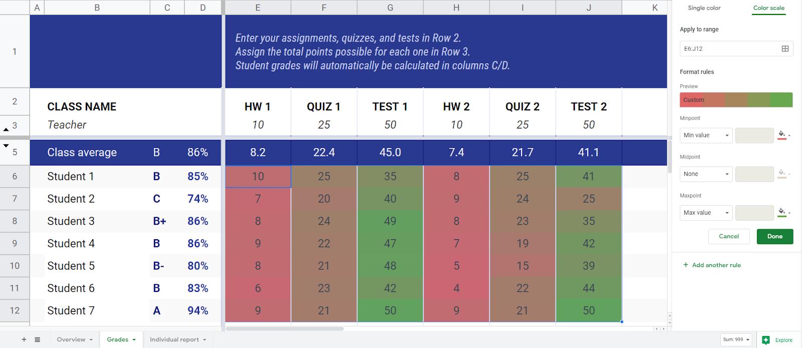 Student Grades Heatmap