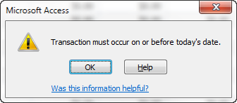 Access error message