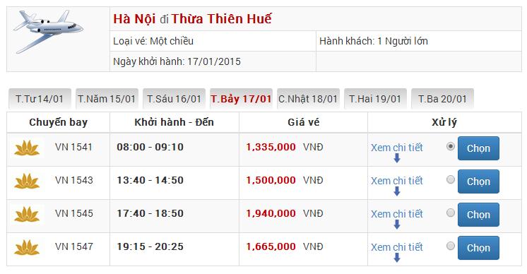 Vé máy bay từ Hà Nội đến Huế