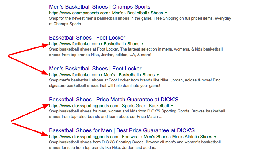 brand authority via SEO -- appearing multiple times in search