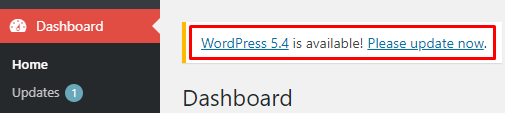 Notifikasi update WordPress di Dashboard