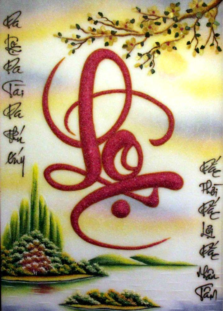 Treo tranh đính đá chữ Lộc