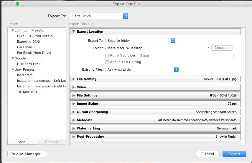 A tela de exportação