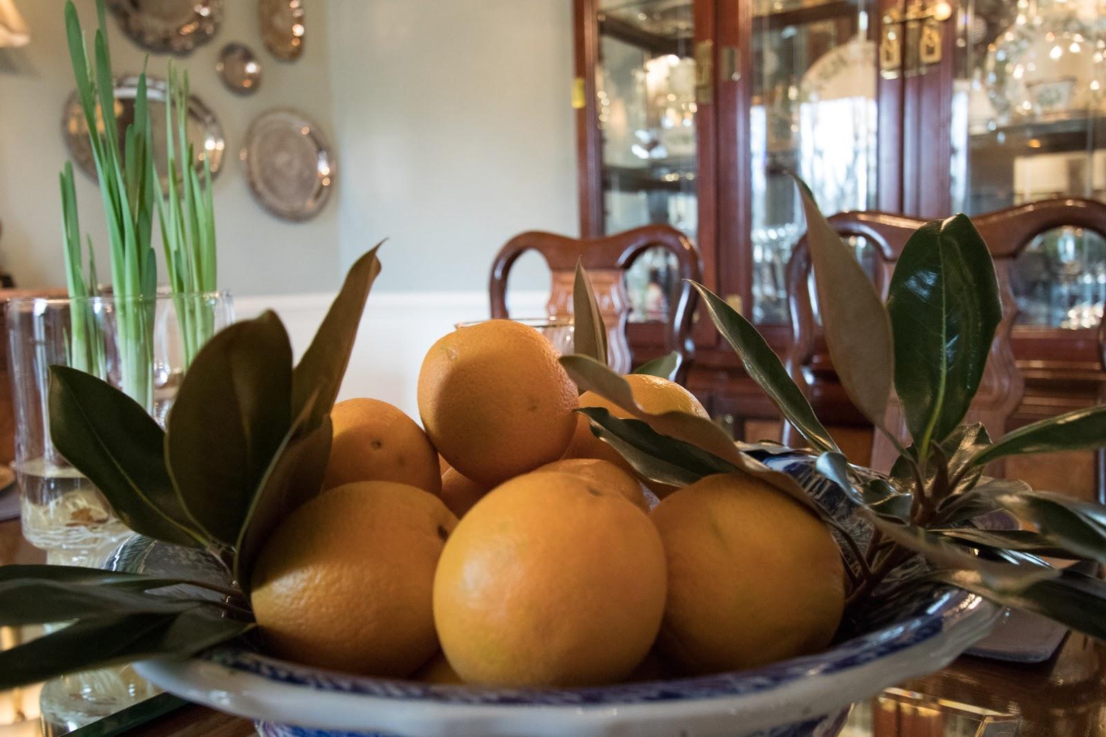 cozy winter centerpiece oranges leaves bright fun