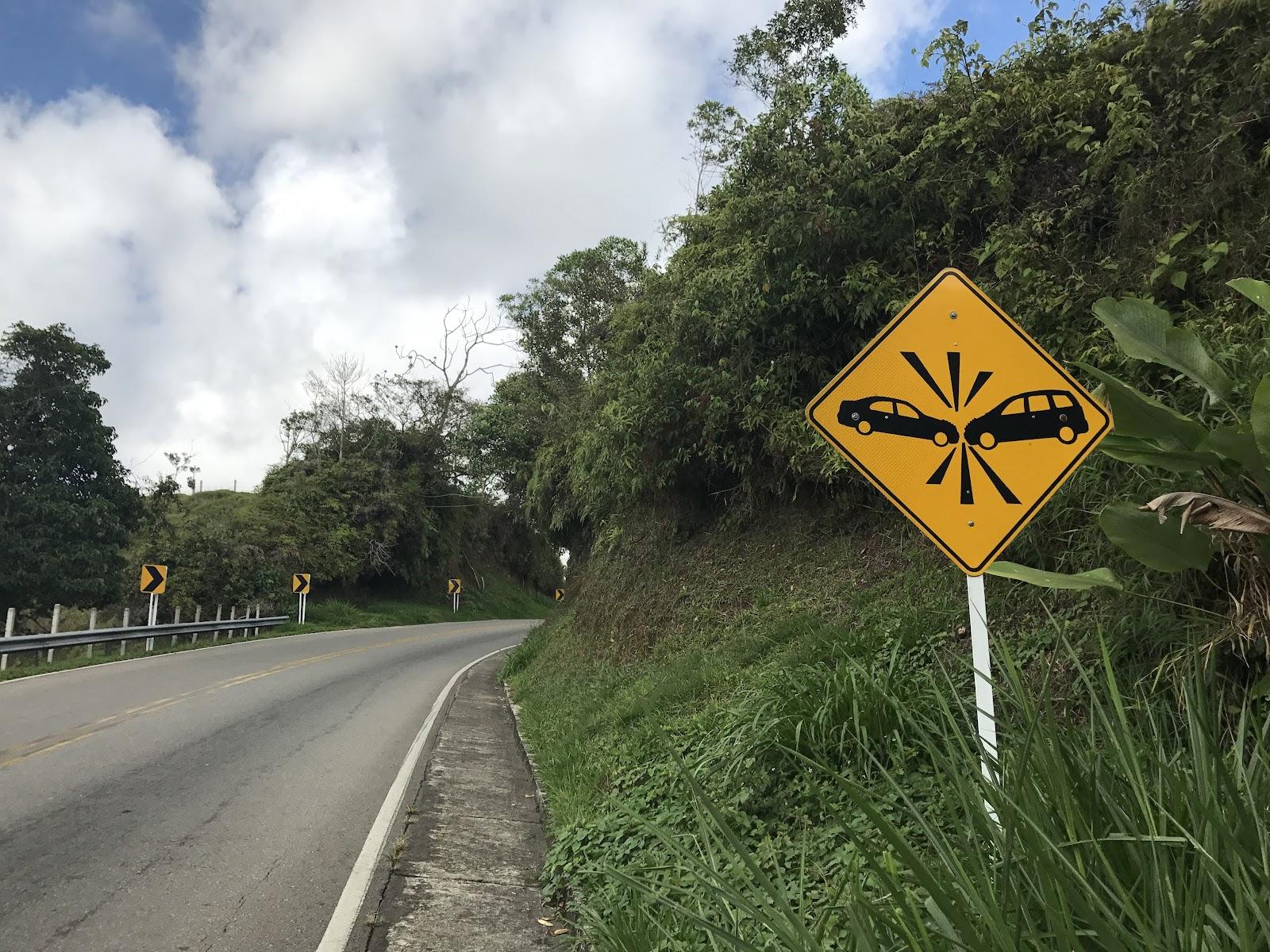 Bicycle ride up Hwy 50 to Alto de Letras - crazy driver sign