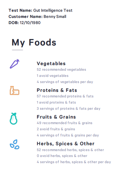 An example of the many foods a Viome test will include. The major selling point of the Viome kits is their foods and supplements recommendations.