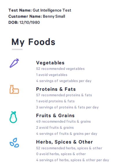 Un exemple des nombreux aliments qu'un test Viome comprendra. Le principal argument de vente des kits Viome est leurs recommandations d'aliments et de suppléments.