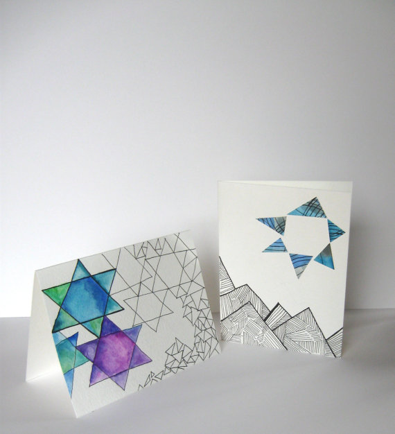 2 Hanukkah greeting cards with the Start of David on them