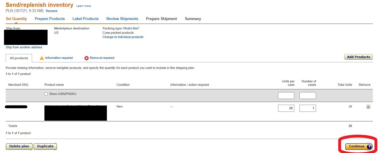 Amazon Seller Central Screen Shot