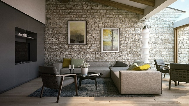 Gạch ốp tường kích thước 75x150 giúp không gian rộng hơn