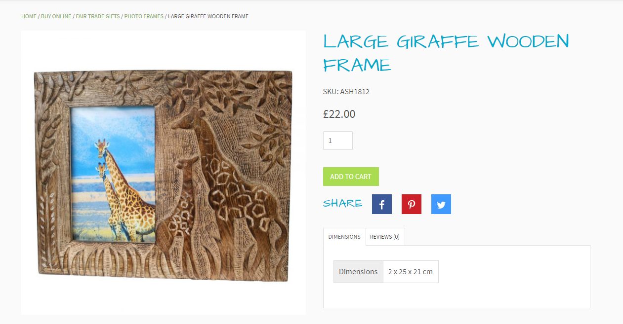 Iguazu's online store showing the product page of a 'Large Giraffe Wooden Frame'.