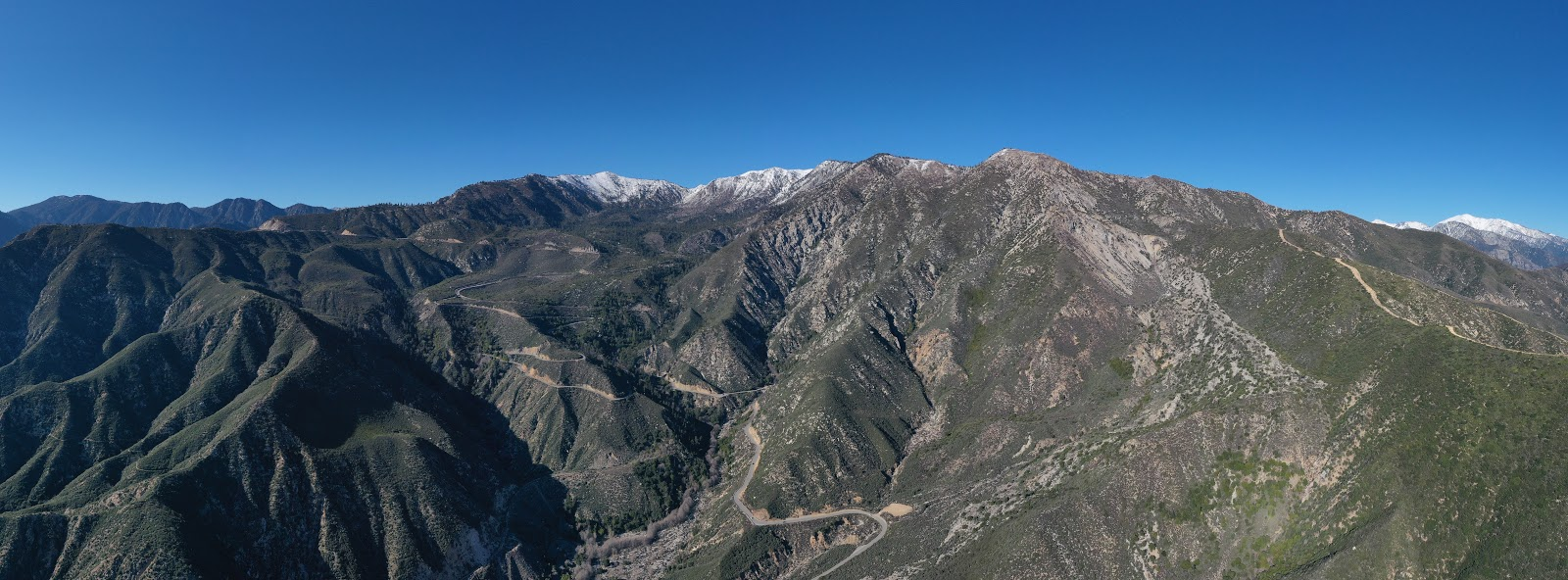 Cycling Dawson Saddle from San Gabriel Reservoir - view of Hairpin curves.