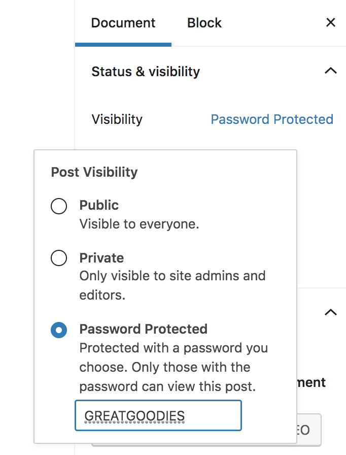 how to change a blog page to password protected