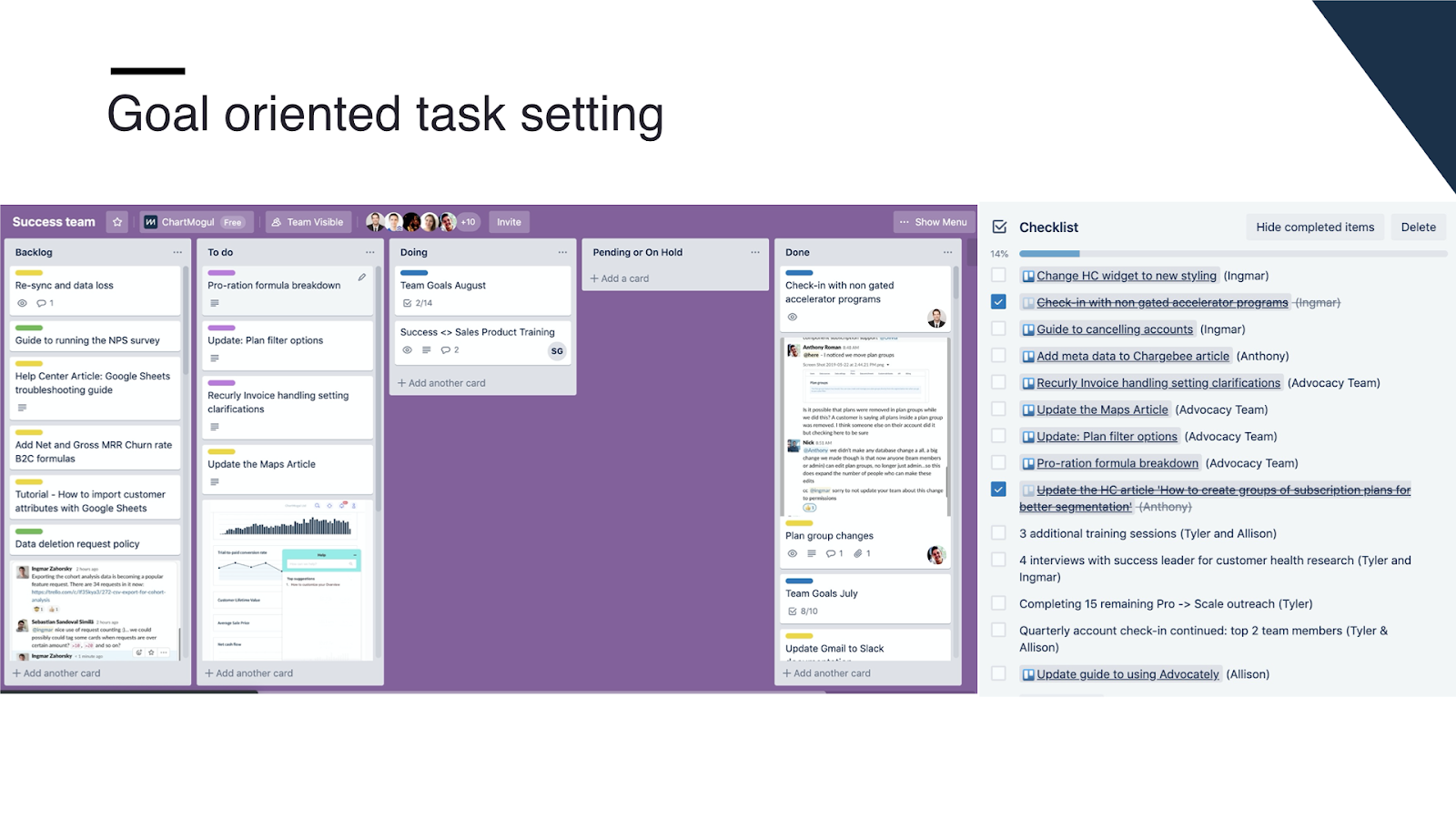Goal-oriented task setting