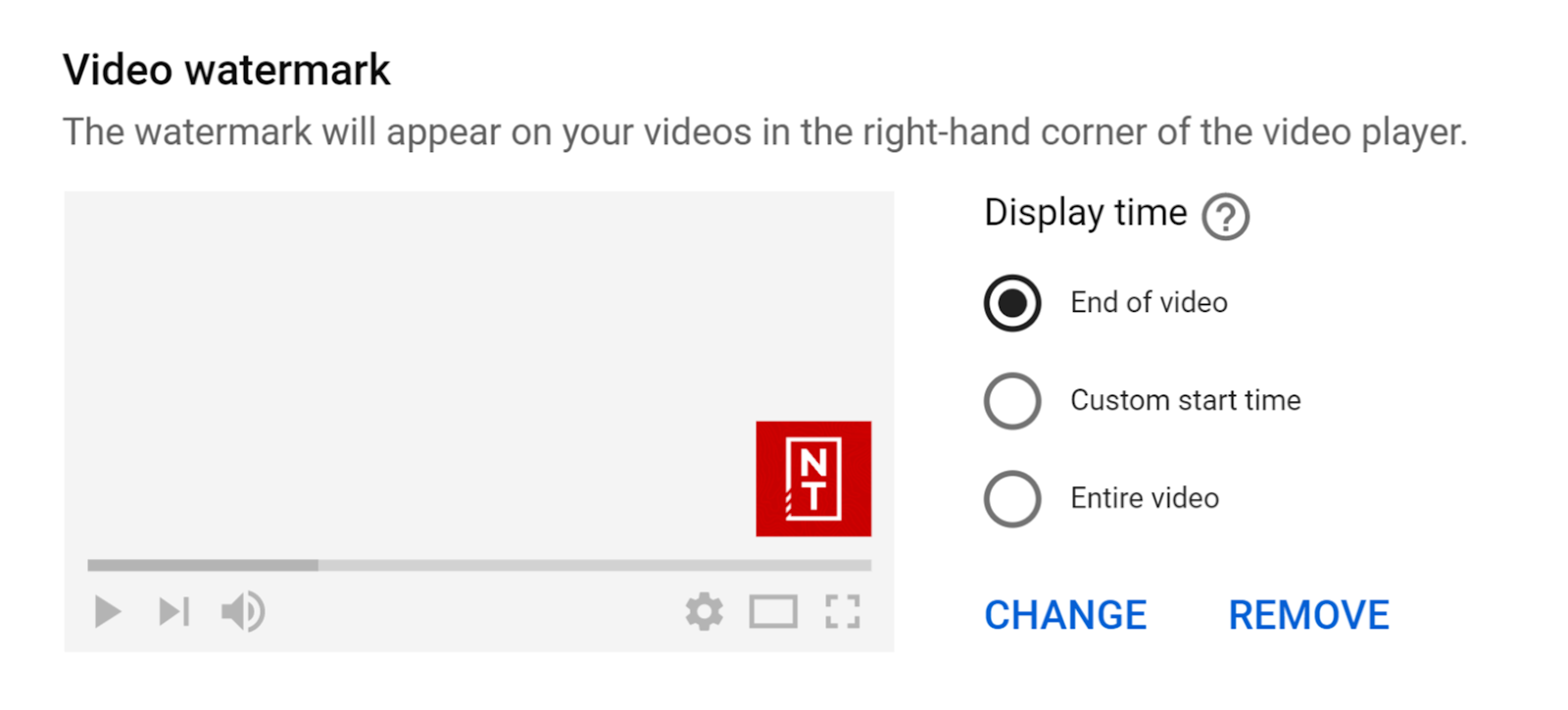Video watermark for YouTube