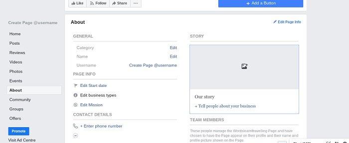 História da página do Facebook