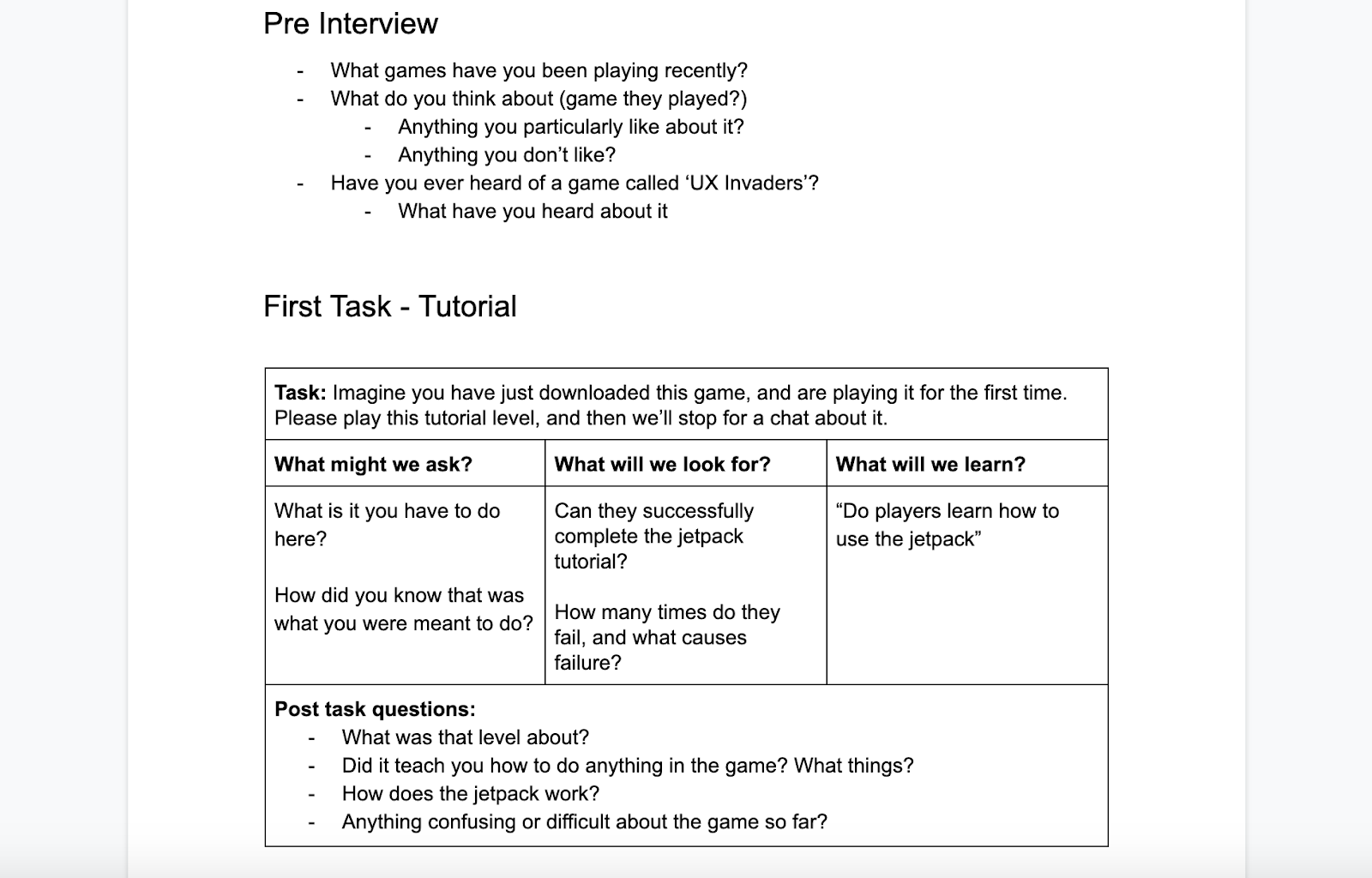 A word document sectioned as a study plan, showing the pre-interview questions and the first task set to the player