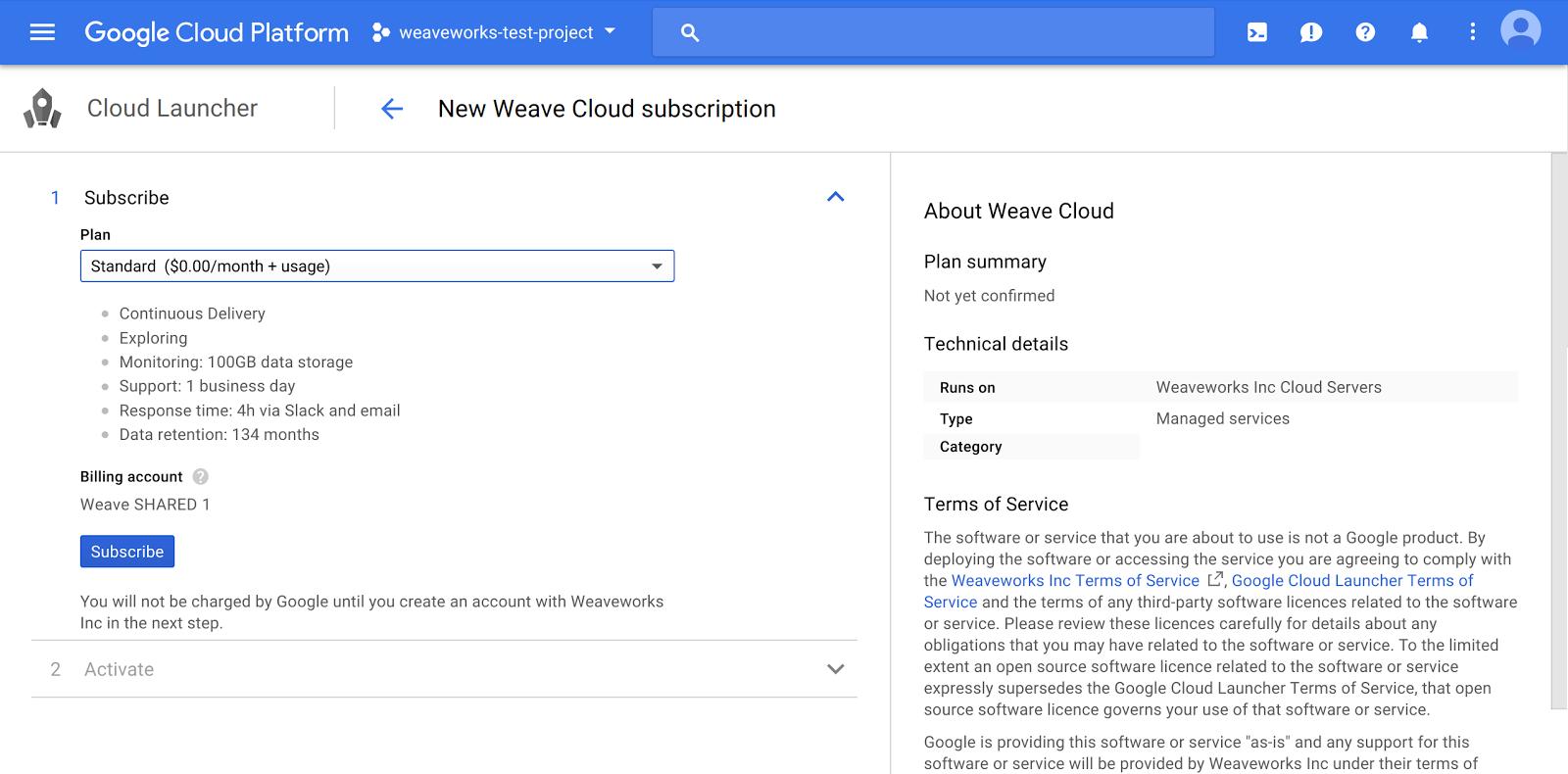 New Weave Cloud Subscription Cloud Launcher