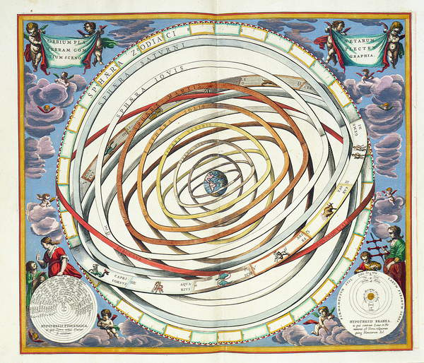 Image of Planetary orbits, plate 18 from 'The Celestial Atlas, or the Harmony of the Universe' (Atlas coelestis seu harmonia macrocosmica) depicting the Ptolemaic and Tycho Brahe systems, pub. by Joannes Janssonius, Amsterdam, 1660-1 (engraving), Cellarius, Andreas (c.1596-1665) (after) / German, © Bridgeman Images