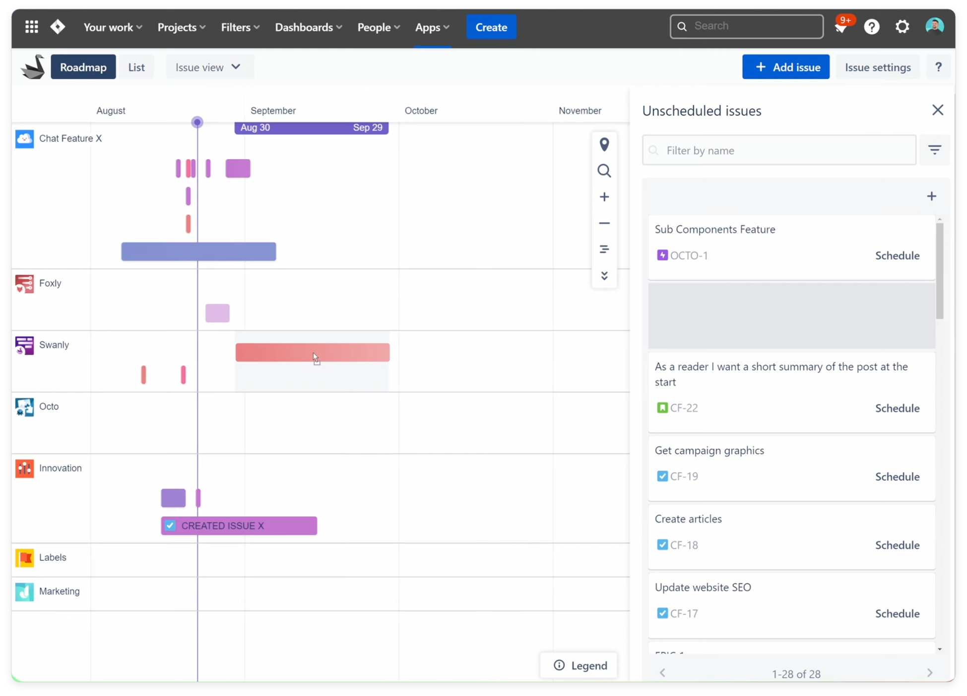 Drag and drop Jira issues and releases seamlessly with Swanly roadmap