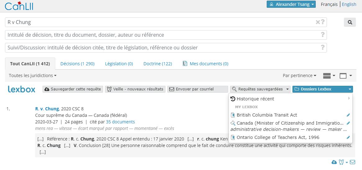 Capture d'écran affichant une recherche CanLII connectée à Lexbox avec le menu déroulant «Parcourir Lexbox» ouvert.