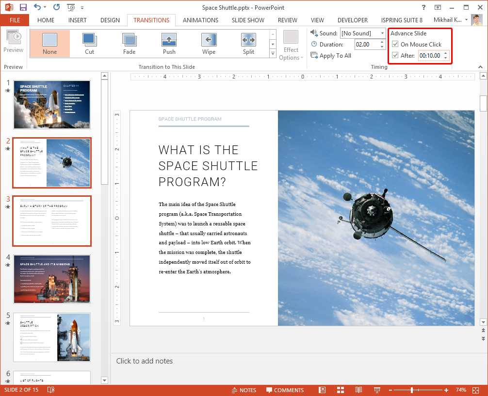 PowerPoint -> TRANSITIONS -> Advance Slide, After 10 seconds.