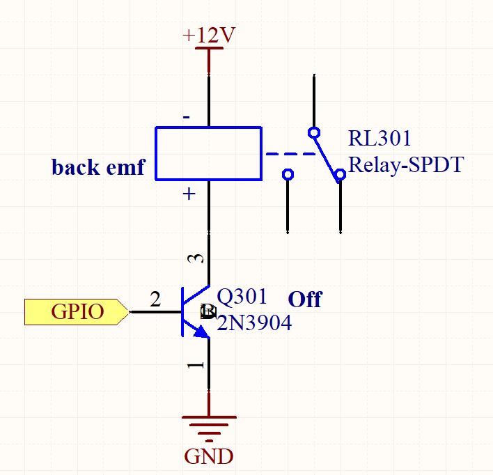 Relais désexcité avec force électromagnétique opposée (FEM) dans un circuit imprimé e