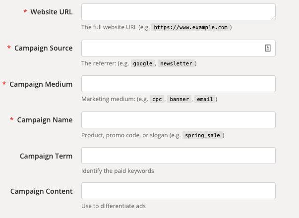 Tags UTM, UTM URL Builder