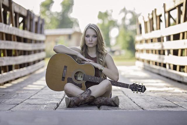 Guitare, Pays, Jeune Fille, Guitare Acoustique, Talent