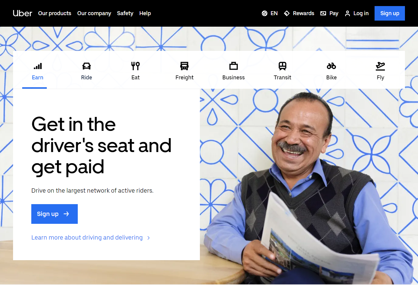 landing page example of uber