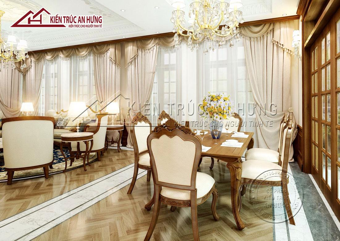 Phòng ăn được thiết kế đồng bộ, có sự kết nối với phòng khách mang vẻ đẹp tinh tế, thanh lịch và cảm giác thông thoáng
