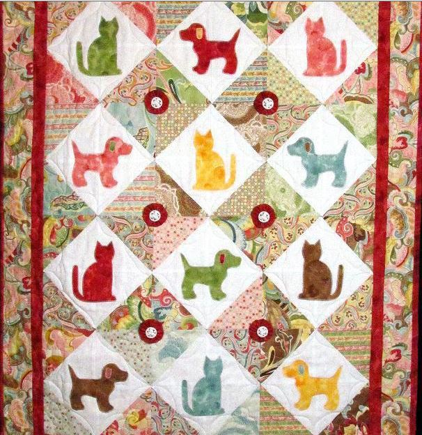 Colorful Patterned Cat and Dog Quilt