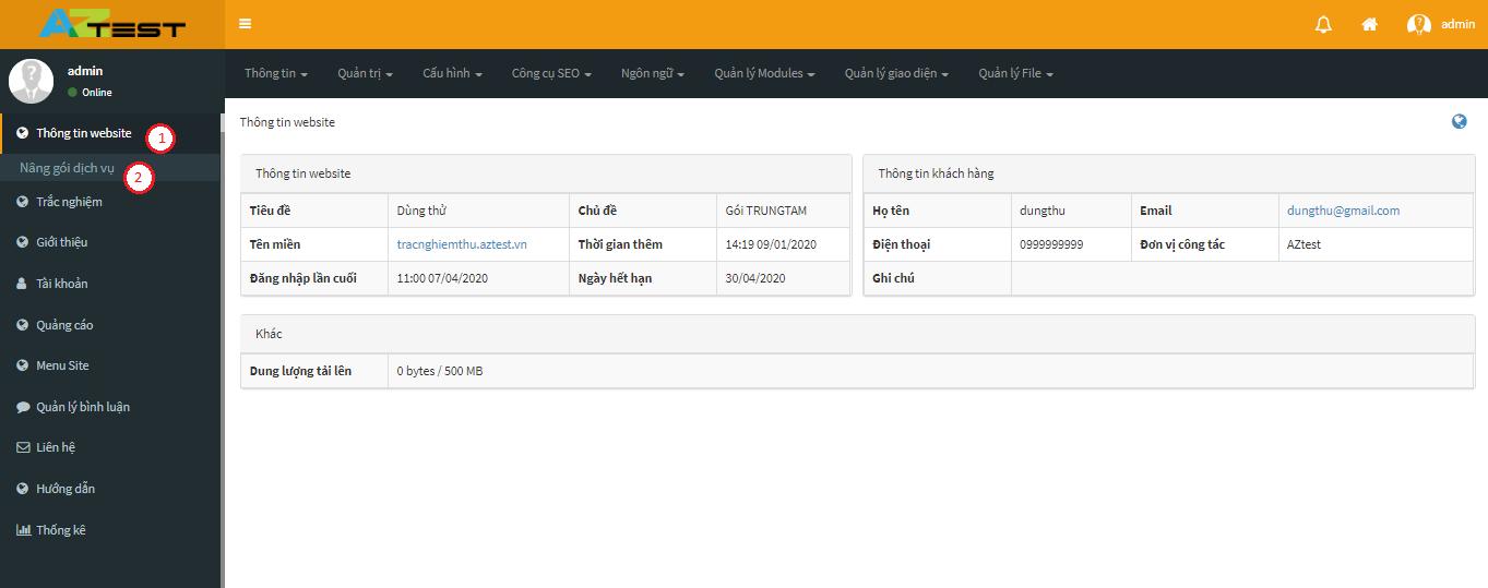 Hướng dẫn nâng cấp gói dịch vụ đang sử dụng trên Aztest