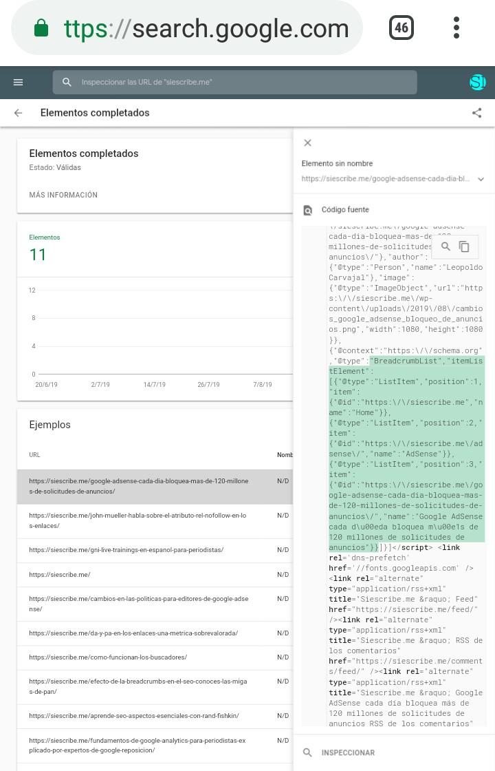 Nuevo informe de Breadcrumbs en Google Search Console 2